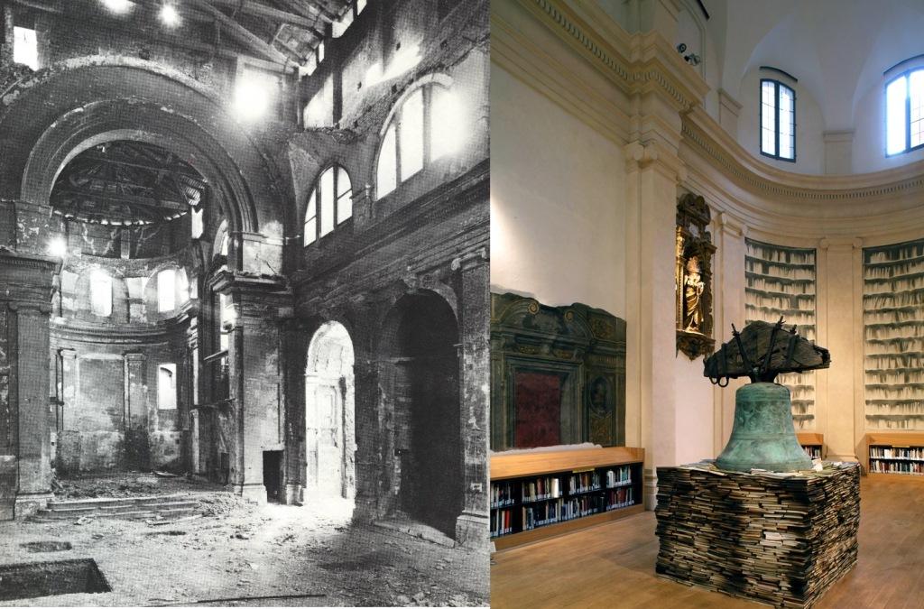 San Giorgio in Poggiale dopo i bombardamenti e oggi