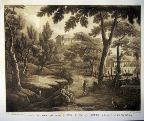 Veduta del già Palazzo Aldini, Basoli