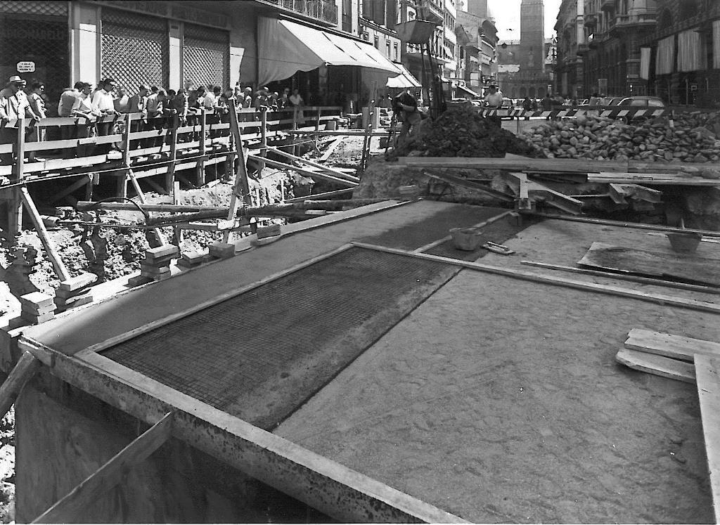 1957 lavori di costruzione del sottopassaggio