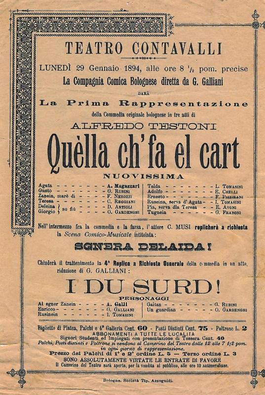 Rappresentazione al Teatro Contavalli